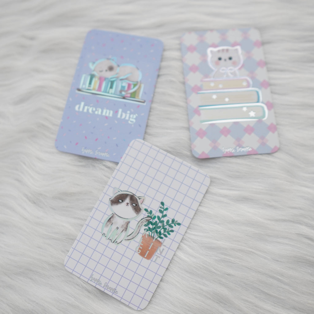 Washi Cards : Fave Things Kitty // Holo Silver Foil (Set of 3)