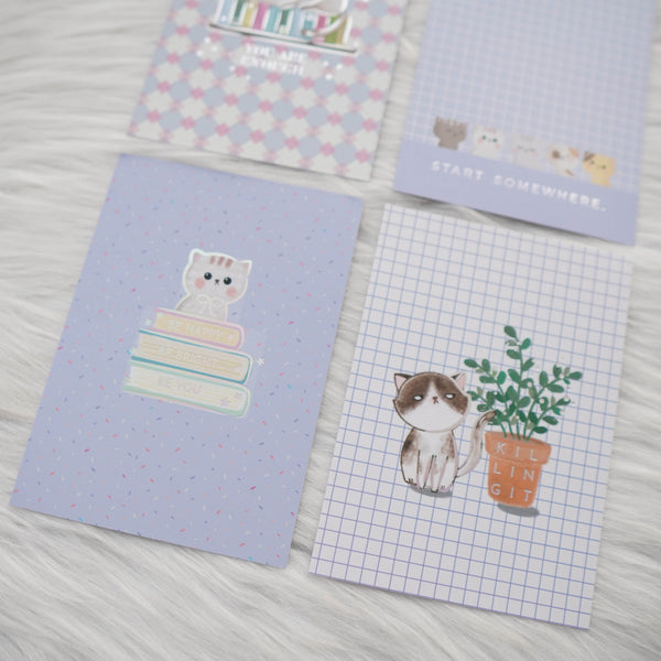 Journaling Cards : Fave Things Kitty // Holo Silver Foil (Set of 4)