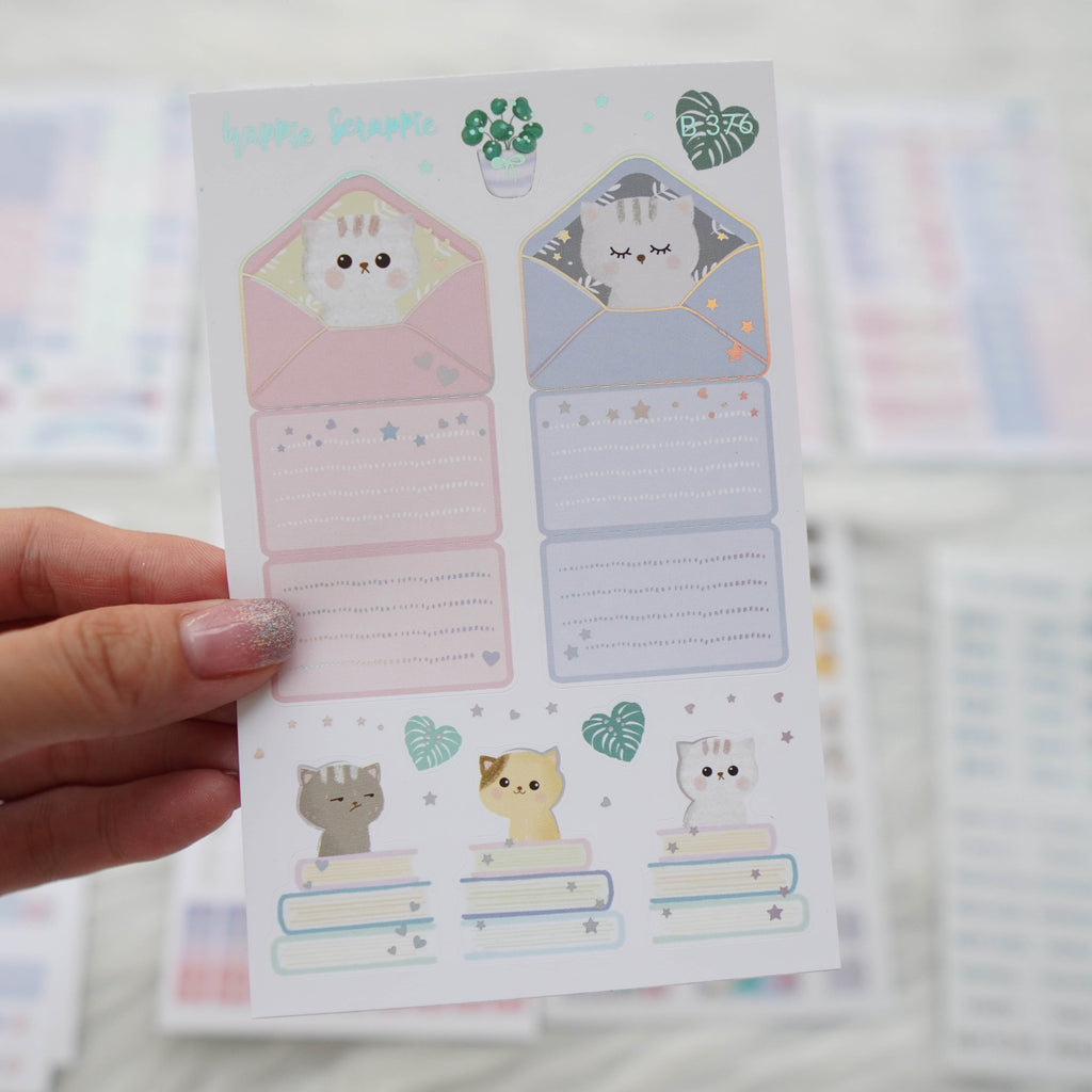 Planner Stickers : Fave Things Kitty - Foldable Boxes & Notes (B376)  // Holo Silver Foiled