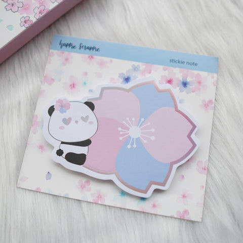 Stickie Notes : Cherry Blossom Panda // Holo Pink Foiled