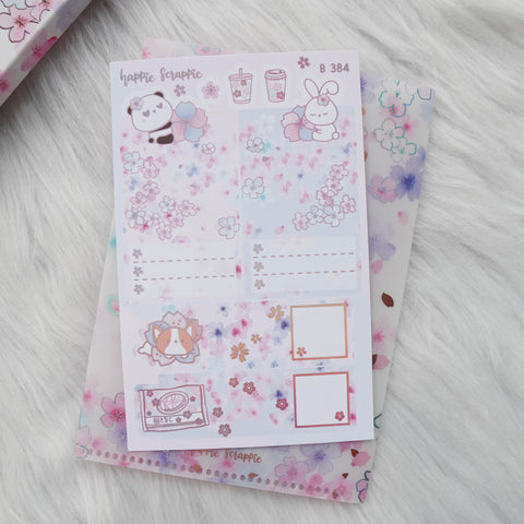 Planner Stickers : Cherry Blossom Panda - Foldable Boxes & Notes (B384)  // Holo Pink Foiled (Collab with OMWL)