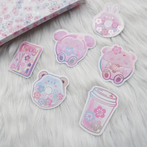 Die Cut Stickers : Cherry Blossom // Holo Pink Foiled