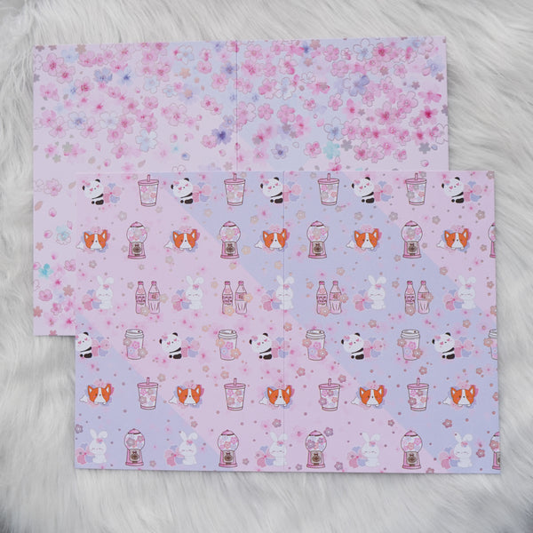 Pattern Papers : Holo Pink Foiled //  Cherry Blossom Panda (Set of 4)