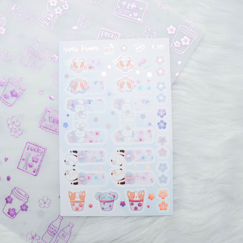 Planner Stickers : Cherry Blossom  // Foiled Tabs (B385)