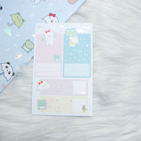 Planner Stickers : Spring Shower - Foldable Boxes & Notes (B392)  // Holo Silver Foiled (Collab with OMWL)