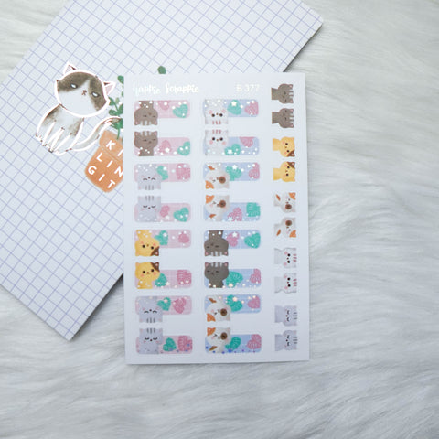 Planner Stickers : Fave Things Kitty  // Foiled Tabs (B377)