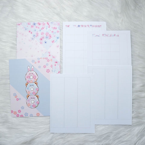 Disc / Rings Planner Inserts - Cherry Blossom Panda // Weekly (With Monthly View)