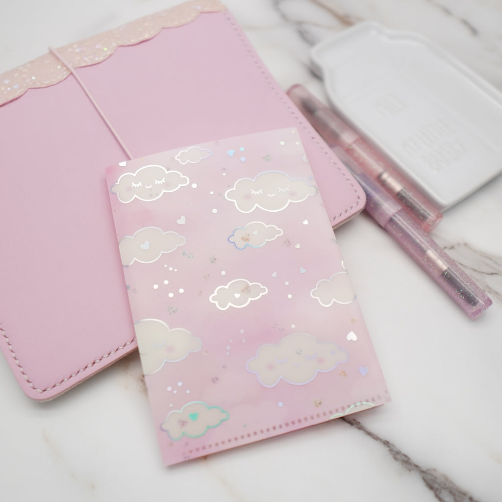 Regular Sticker Folder : Pink Sleepy Cloud Storage Folder (Holo Silver Foiled)
