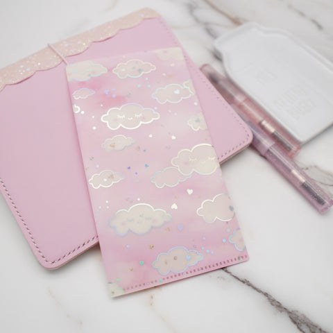 Hobo Weeks Sticker Folder : Pink Sleepy Cloud Storage Folder (Holo Silver Foiled)