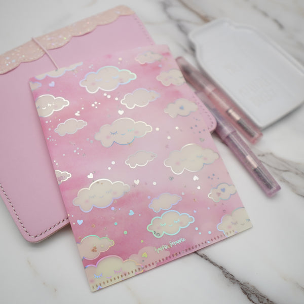 Jumbo Sticker Folder :  Pink Sleepy Cloud Storage Folder (Holo Silver Foiled)