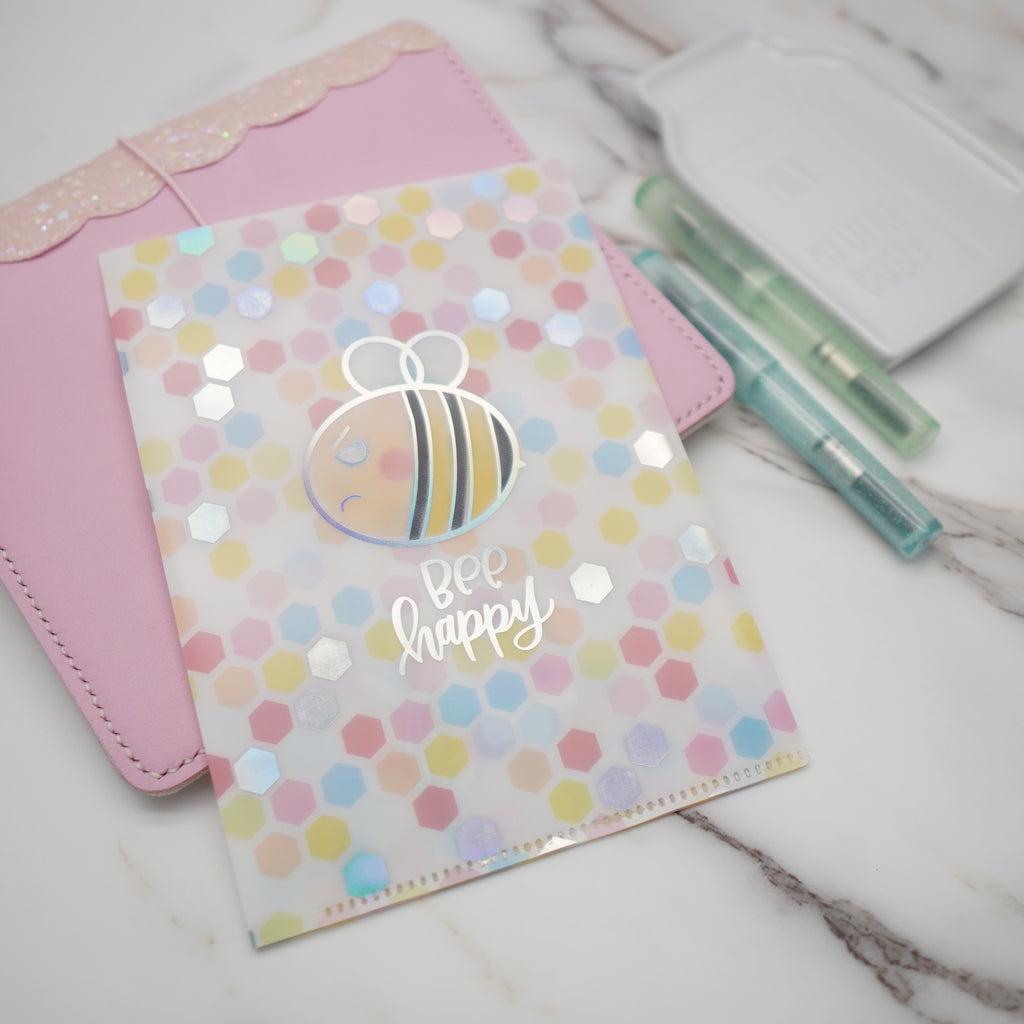 Jumbo Sticker Folder :  Grumpy Bee Storage Folder (Holo Silver Foiled)