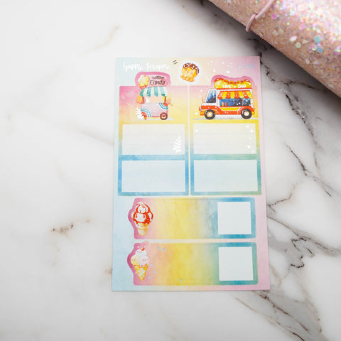 Planner Stickers : Foodie's Delight //  Foldable Boxes & Notes (B400)  // Holo Silver Foiled (Collab with Molly)