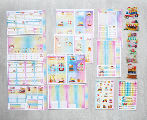 Sticker Kit : Foodie's Delight (Set of 10 Sheets) - Holo Silver Foiled Stickers //Collab with Molly