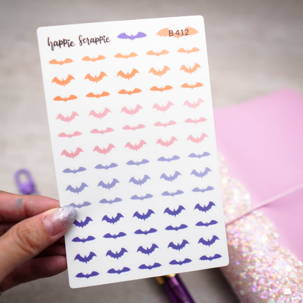 Clear Stickers : Happie Halloween // Tiny Bats (B412)