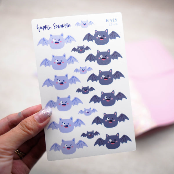 Planner Stickers : Happie Halloween // Bat Headers - 1.5inch (B416)