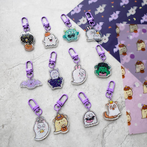 Acrylic Charms : Happie Halloween (Glitter)