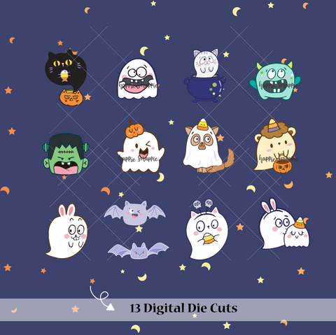 DIGITAL DOWNLOAD! - No Physical Product : Happie Halloween Themed Digital Die Cut