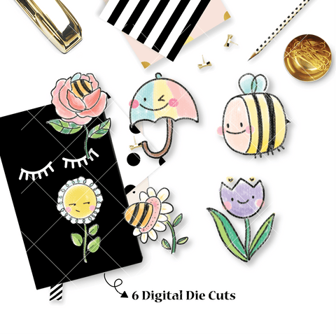 DIGITAL DOWNLOAD! - No Physical Product : Bee-YOU-tiful / Spring Themed Digital Die Cut