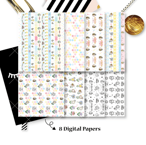 DIGITAL PAPERS - No Physical Product : Bee-YOU-tiful Themed Digital Papers