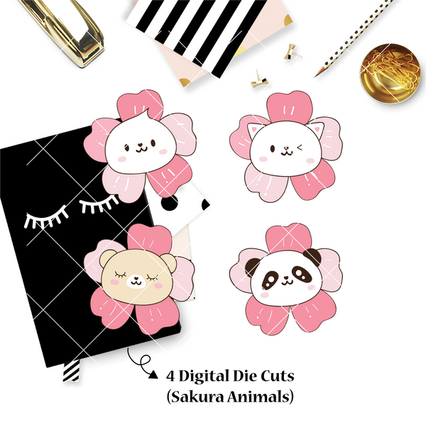 DIGITAL DOWNLOAD! - No Physical Product : Sakura Animals / Cherry Blossom Themed Digital Die Cut