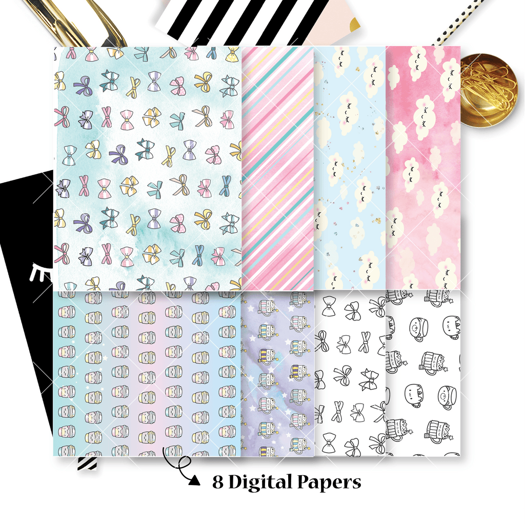 DIGITAL PAPERS - No Physical Product : Hug In A Mug Themed Digital Papers