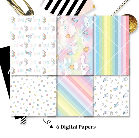 DIGITAL PAPERS - No Physical Product : Happy Rainbow Themed Digital Papers