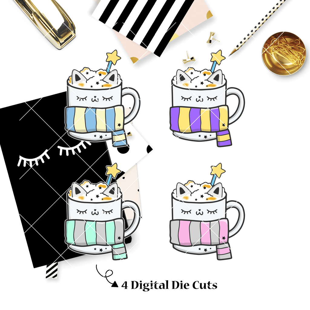 DIGITAL DOWNLOAD! - No Physical Product : Hug In A Mug / Pastel Kitty Mug Themed