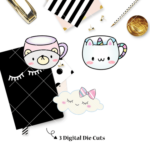 DIGITAL DOWNLOAD! - No Physical Product : Hug In A Mug / Caticorn Mug Themed