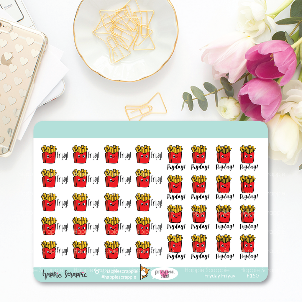 Planner Stickers : Functional Stickers - Fryday Friyay (F150)