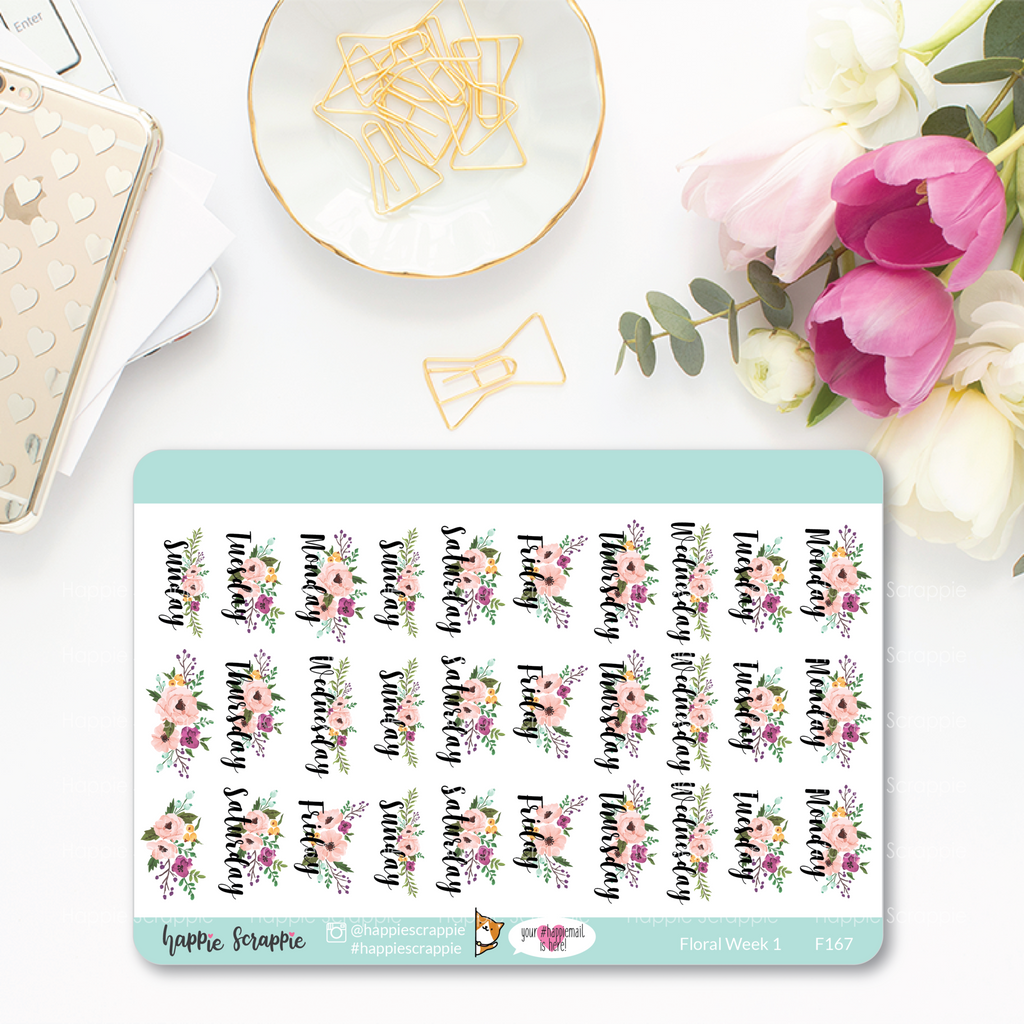 Planner Stickers : Functional Stickers - Floral Week 1 (F167)