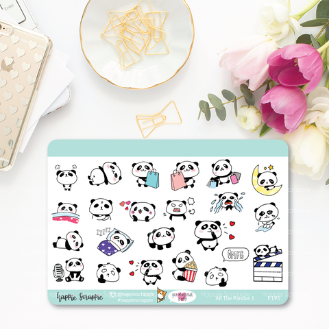 Planner Stickers : All The Pandas 1 (F195)