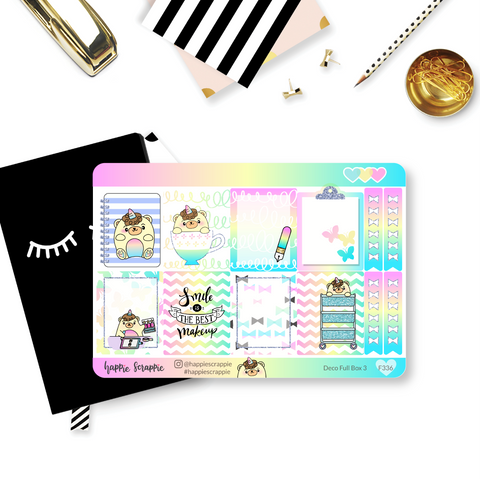 Planner Stickers :  Beariecorn (Single Sheets)
