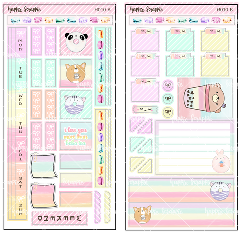 Hobonichi Weeks Sticker Kit - Sweet Boba Tea & Donuts // H010