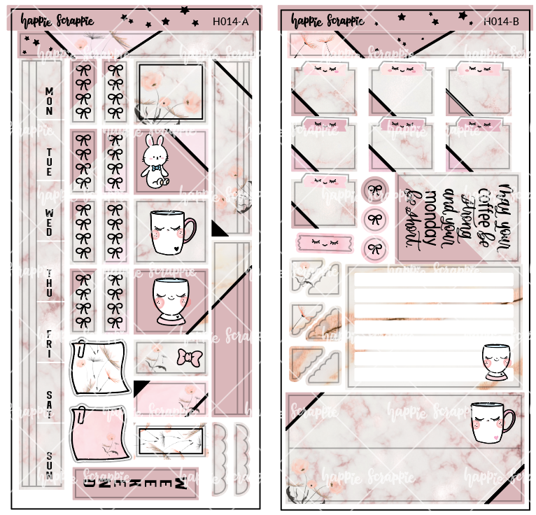 Hobonichi Weeks Sticker Kit - Marble Cup // H014 - Foiled Stickers