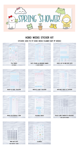 Hobo Weeks Sticker Kit: Spring Shower (STICKERS ONLY) // HW-023 -- HW-030