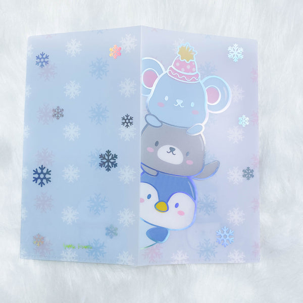 Hobo Weeks Sticker Folder : Cozy Winter Animals Storage Folder (Holo Silver Foiled)