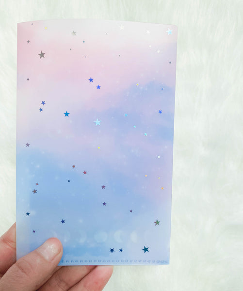 Regular Sticker Folder : Moon & Stars Storage Folder (Holo Silver Foiled)