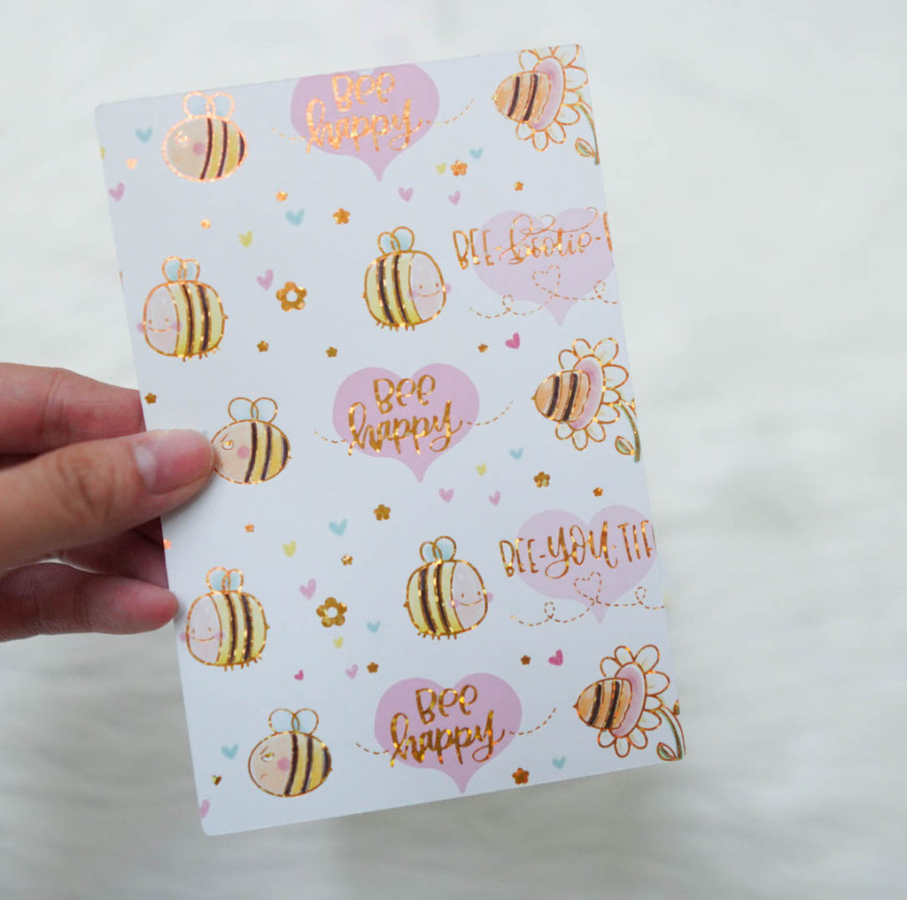 Pencil Board : Hobonichi Techo / A6 Sized // Bee-YOU-tiful (Holo Gold Foiled)
