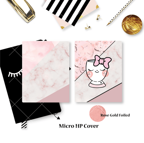 Planner Cover :  Pink Marble Cup (Rose Gold Foiled)