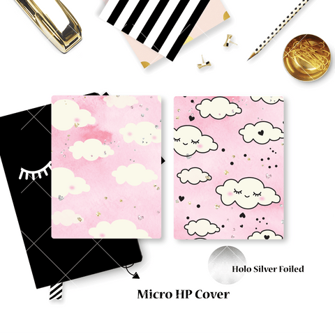 Planner Cover :  Pink Sleepy Cloud (Holo Silver Foiled)
