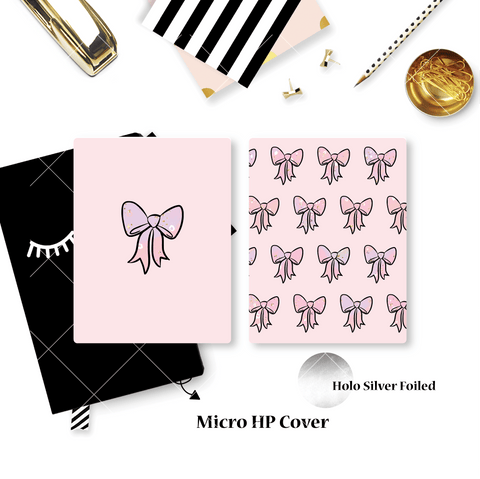 Planner Cover :  Pink Bows (Holo Silver Foiled) // Rose Colored Daze Collab