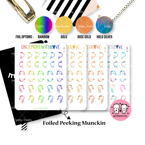 Planner Stickers : OnceMoreWithLove Collabs - Foiled Peeking Munchkin (OMWL 06)