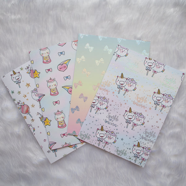 Pattern Papers : Holo Glitter Foiled Magical Wishes & Unicorns (Set of 4)