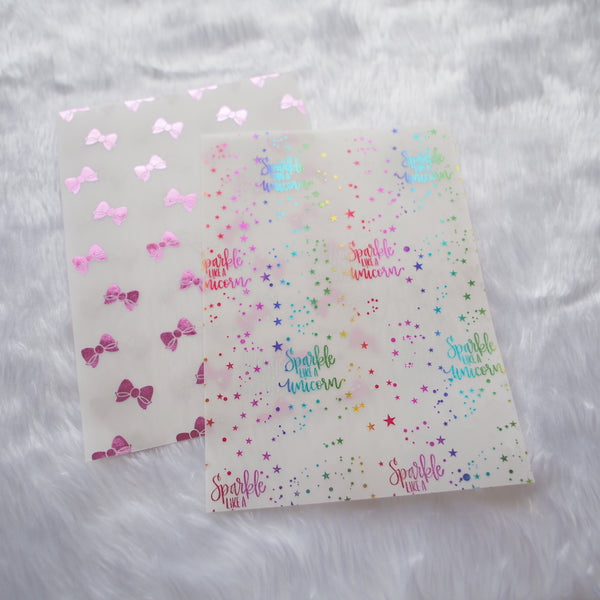 Vellum : Pink Foiled / Rainbow Foiled Magical Wishes (Set of 2)
