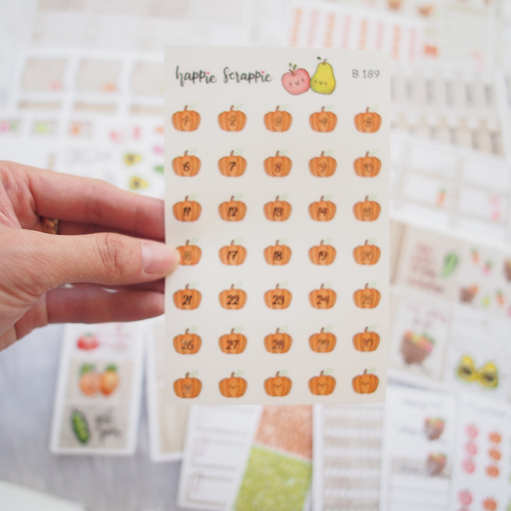Planner Stickers : Farmers Market - Rose Gold Foiled Pumpkin Date Dots (B189)