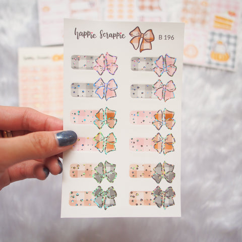 Planner Stickers : Sweater Weather- Holo Glitter Foiled Bow Tabs (B196)