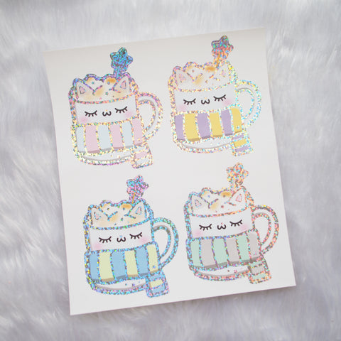 Foiled Stickers :  PastelThemed Kitty Mug (Holo Glitter Foiled)