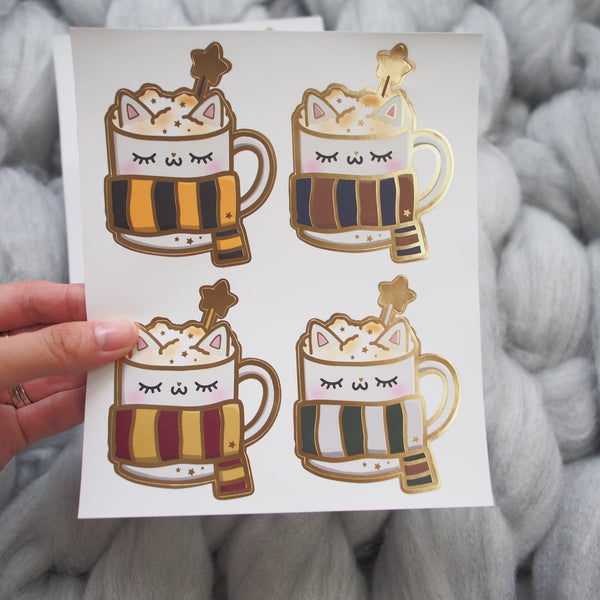Foiled Stickers : HP / Wizard Themed Kitty Mug (Matte Gold Foiled)