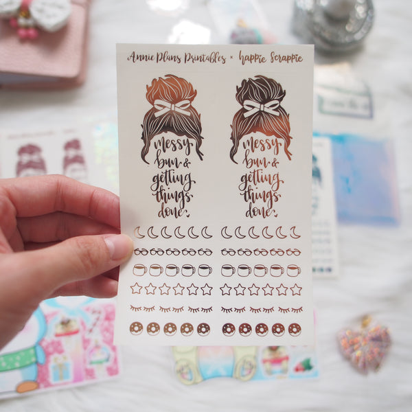 Foiled Stickers : Messy Bun & Header Clear Sticker (Annie Plans Printables)