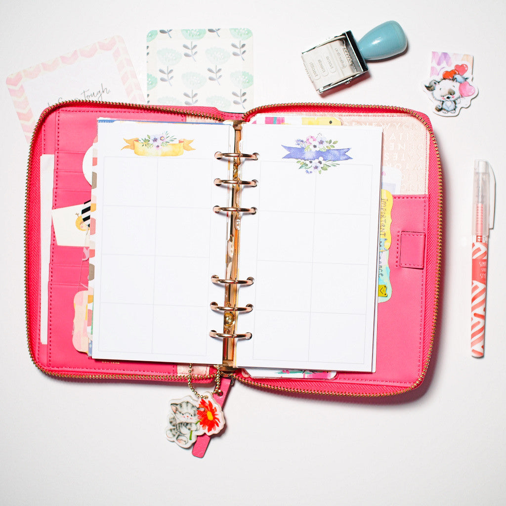 Inserts: Personal Sized Planner Inserts - Cutie Pie (Boxes)